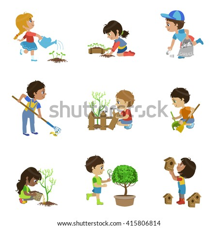 Kids Gardening Collection Of Flat Outlined Cartoon Vector Design Drawings Isolated On White Background - stock vector
