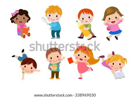 Kids go to school, back to school, Cute cartoon children, happy children, Vector Illustration. - stock vector