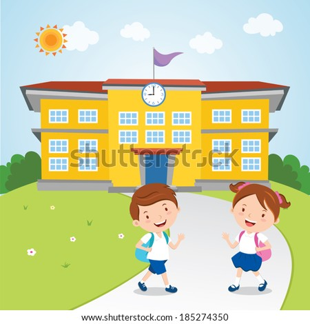 Kids go to school. Vector illustration of school boy and girl going to school in the morning. - stock vector