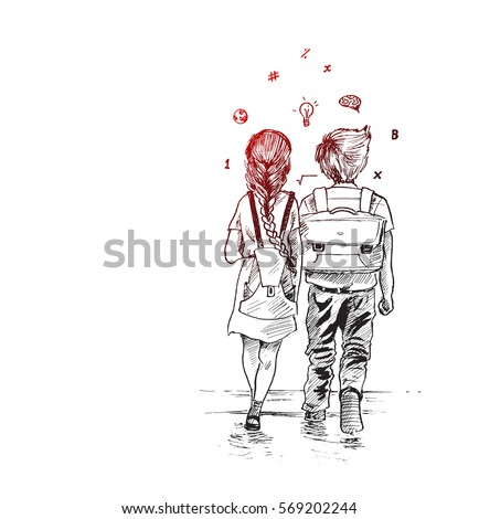 kids going to school together hand drawn sketch vector background - Sketch Images For Kids