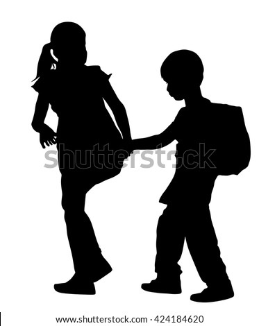 Kids going to school together, vector silhouette illustration. Back to School. Boy with Backpack. Girl with Backpack. Happy Kids. Education, boy with Books. Happy Schoolkids. Vector illustration. - stock vector