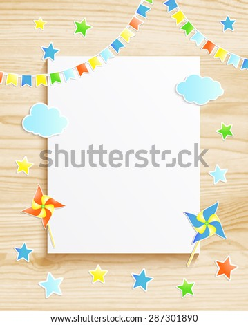 Kids greeting card or invitation for baby boy with pinwheel, stars, flags, photo frame on wooden background. Vector EPS10 - stock vector