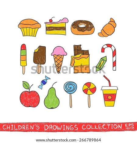 Kids hand drawing tasty food. Cartoon sketch illustration of child vector doodles set: muffin, cake, pie, donut, croissant, confection, sweet, candy, lollipop, ice cream, chocolate, apple, pear, drink - stock vector
