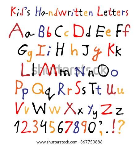 Printables Script Alphabet For Kids kids handwritten letters full alphabet numbers stock vector and childrens script font