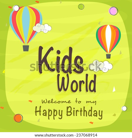 Kids Happy Birthday celebration Invitation card design with beautiful decoration. - stock vector