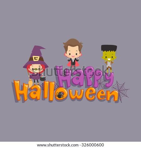 Kids Happy Halloween Greetings - stock vector