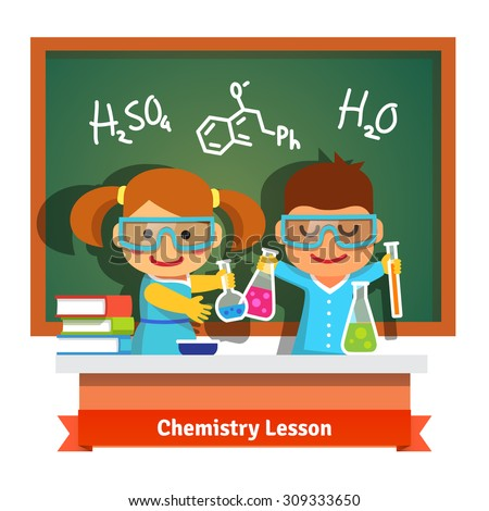 Kids having fun at chemistry lesson making experiment at the desk and chalkboard with formulas. Flat style cartoon vector illustration isolated on white background. - stock vector