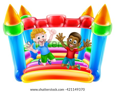 Kids having fun on a bouncy castle or house - stock vector