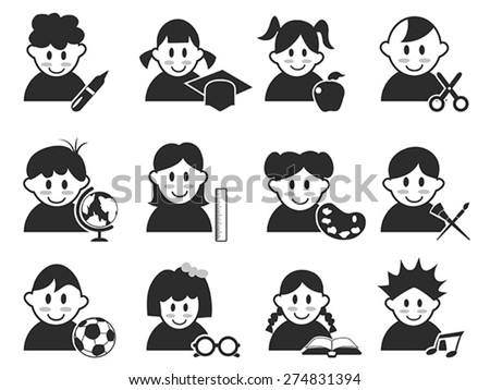kids head with education icons set - stock vector