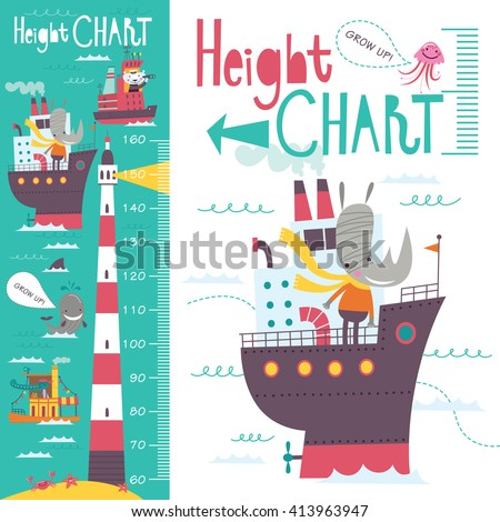 Kids height chart. Vector isolated illustration of cartoon transport and animals on a green-blue background.