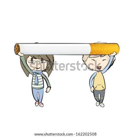 Kids holding a cigarette isolated over white background  - stock vector
