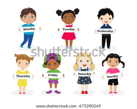 Kids Holding Cards Saying Days Of The Week Illustration. Funny Kids Of  Different Races With