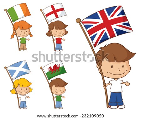 Kids holding flags from the UK and Eire.