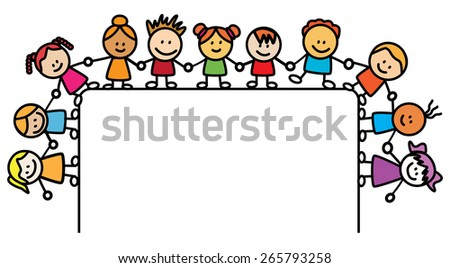 Kids Holding hand with banner - stock vector