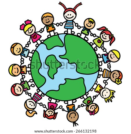 kids holding hand with world - stock vector
