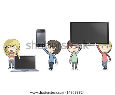 Kids holding PC, phone and TV. Vector design