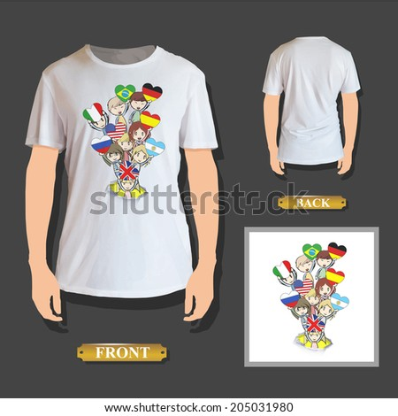 Kids holding prohibited signs printed on shirt - stock vector