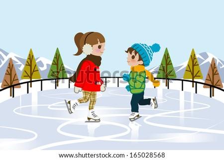 Kids Ice skating in nature - stock vector