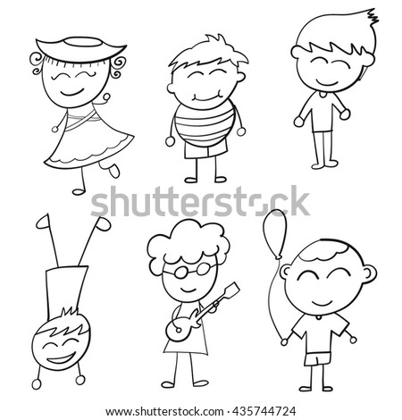 kids icons. Doodle Vector Illustration.