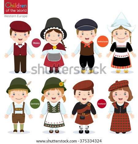 Kids in different traditional costumes (Wales, Netherlands, Germany,  Scotland) - stock vector