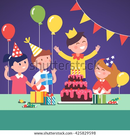Kids in funny hats celebrating a boy wearing a crown birthday with gifts, big cake and air balloons. Modern flat style vector illustration cartoon clipart. - stock vector