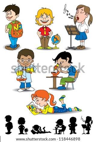 Kids in school - stock vector