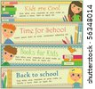 Kids in School Banners - stock vector