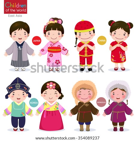 Kids in traditional costume; Japan, China, Korea and Mongolia