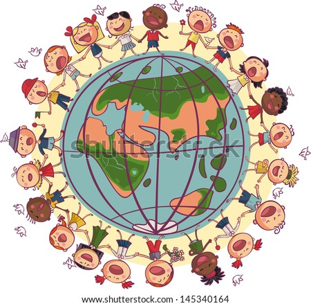 Kids is dancing and singing in circle around earth - stock vector