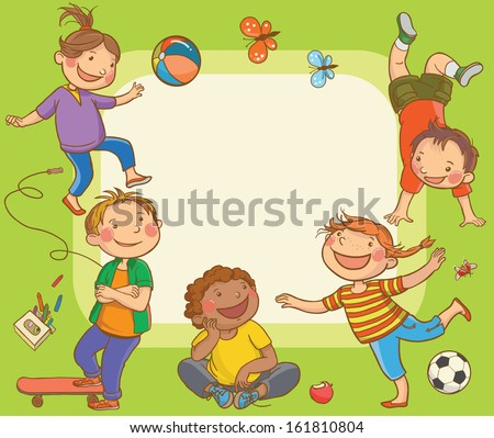 Kids jumping around placard. Children Sport isolated objects on green background. Great illustration for a school books and more. VECTOR. Editorial. Education. Advertising. Board. - stock vector
