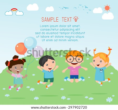Kids jumping on the playground,Kids jumping with joy , happy jumping kids, happy cartoon kids playing, Kids playing on  background - stock vector