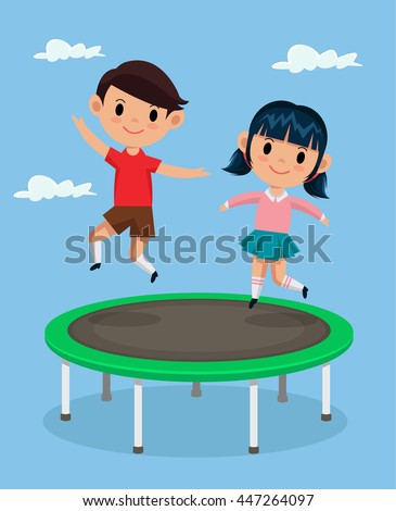 Kids jumping on trampoline. Vector flat cartoon illustration