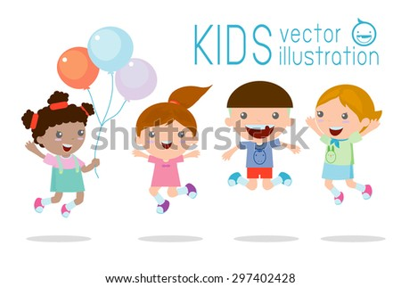 Kids jumping with joy , happy jumping kids, happy cartoon kids playing, Kids playing  on white background ,  Vector illustration - stock vector