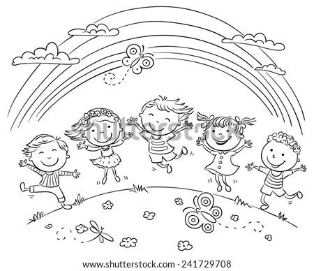 kids jumping with joy on a hill under rainbow black and white outline - Outline Drawing For Kids