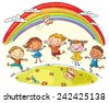 Kids jumping with joy on a hill under rainbow, colorful cartoon - stock vector