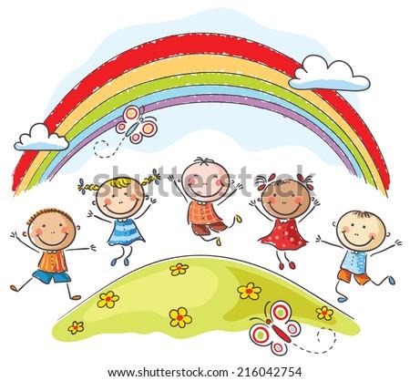 Kids jumping with joy on a hill underneath a rainbow - stock vector