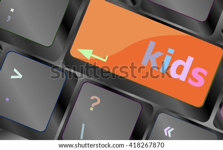 kids key button in a computer keyboard vector keyboard key. keyboard button. Vector illustration - stock vector