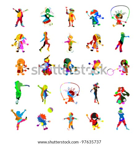 Kids kids kids, collection of against white background