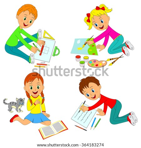 kids learning activity,boys and girls draw,write and read,illustration,vector