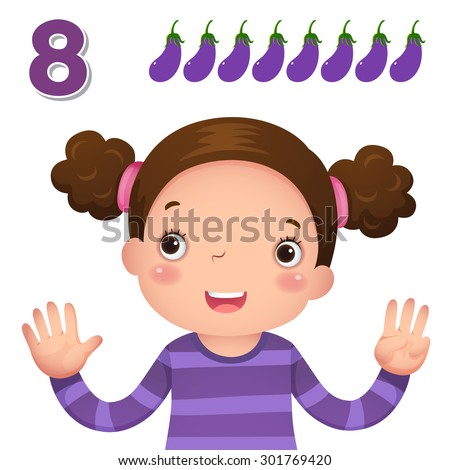Kids learning material. Learn number and counting with kids hand showing the number eight - stock vector