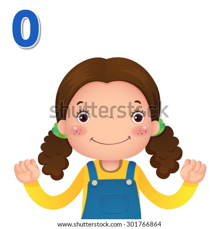 Kids learning material. Learn number and counting with kids hand showing the number zero - stock vector