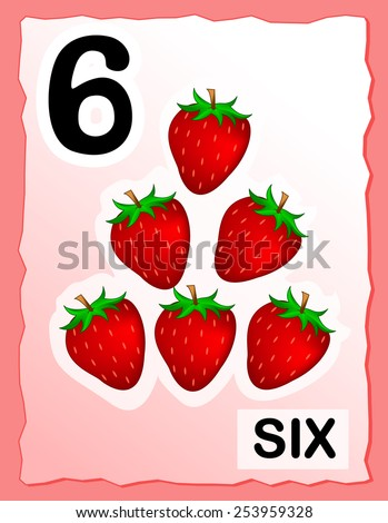 Kids learning material. printable number six card with an illustration of strawberries - stock vector