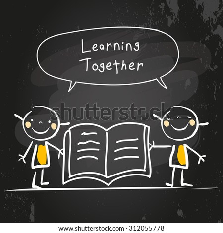 Kids learning together, reading a book. Kids with speech bubble, chalk on blackboard hand drawn doodle style vector illustration. - stock vector