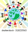 Kids Love Around World Holding Hands - stock vector