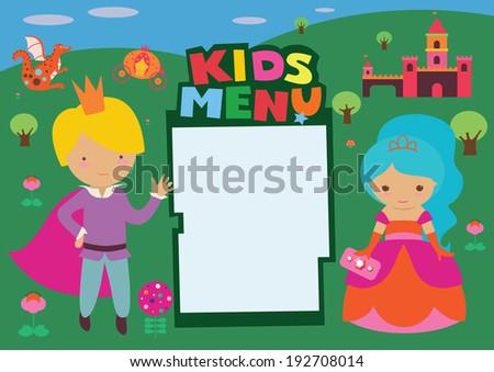 Kids menu Fantasy Castle - stock vector