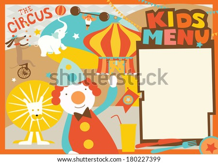 Kids menu template circus style stock vector 180227399 shutterstock kids menu template circus style pronofoot35fo Gallery