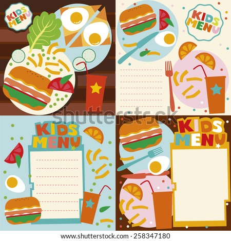 Kids menu template set - stock vector