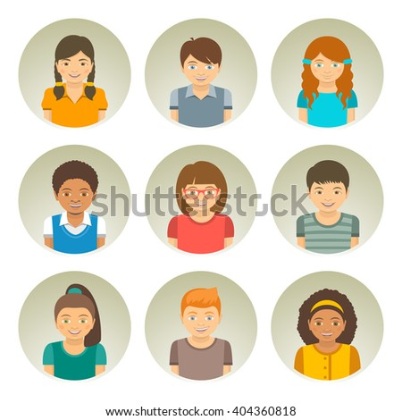 Kids of different races round flat vector avatars. Happy smiling Caucasian, African American and Asian boys and girls faces. Children characters profile pictures. Portrait infographic cartoon elements - stock vector