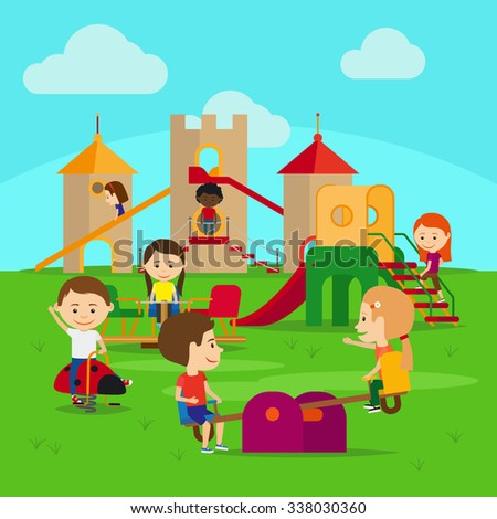 Kids on playground. Castle and swing with happy kids - stock vector