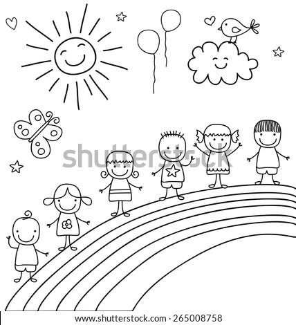 kids on rainbow - stock vector